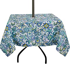 ColorBird Modern Paisley Flower Tablecloth Water Resistant Table Cover with Zipper Umbrella Hole for Patio Garden Tabletop Decor (Square, 60