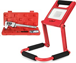 Digital Caliper, IP54 Stainless Steel, Plus Bright Rechargeable LED Work Light, Red