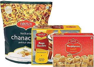 Bikaji - Indian Diwali Festive Gift Box - Diwali Special Sweets & Snacks - Mango Chocolate Mithai , Manbhavan Soan Papdi Sweet and Kolkatta Chana Chur Snacks