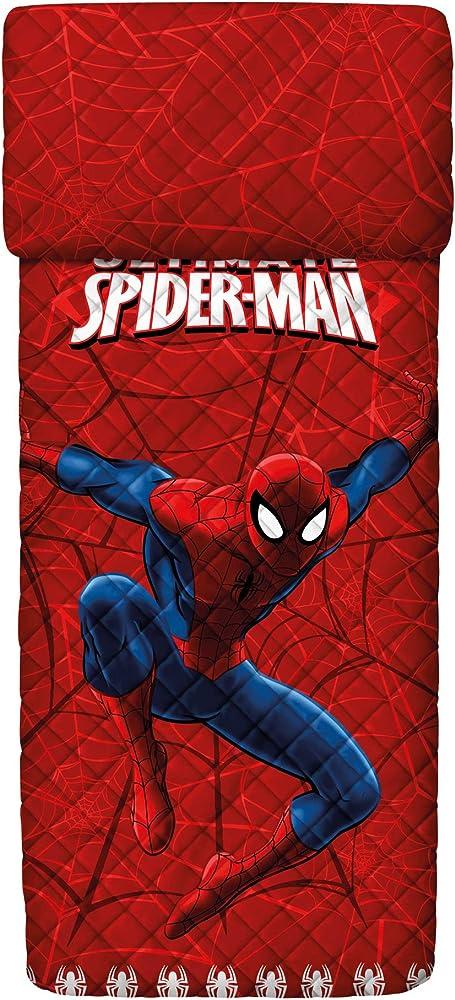 Bassetti,copriletto trapuntato spider-man, per letto singolo, 100% cotone 9286353