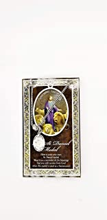 (43 9/18) Saint Daniel Genuine Pewter Medal with Stainless Chain & Prayer Card w Copyrighted Paul Herbert Blessing PATRONA Series