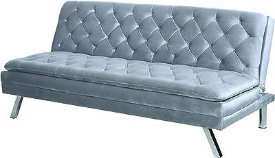 Amazon.com: Sean Navy Velvet Tuxedo Sofa - Chrome Y-Legs ...