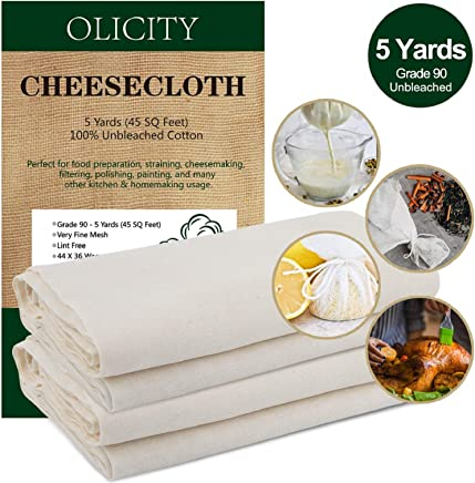 featured product Olicity Cheesecloth,  Grade 90,  45 Square Feet,  100% Unbleached Cotton Fabric Ultra Fine Muslin Cloths for Butter,  Cooking,  Strainer,  Baking,  Hallowmas Decorations (5 Yards) …