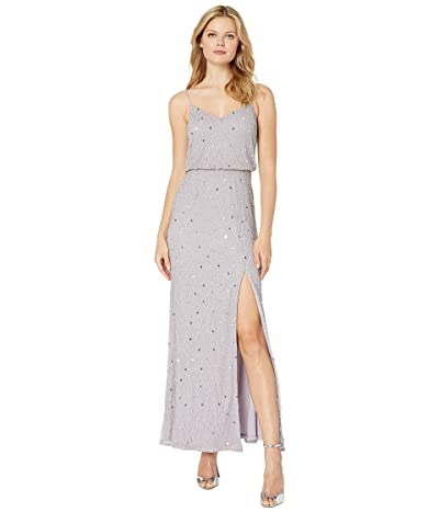 Adrianna Papell Beaded Blouson Evening Gown (Lilac Grey) Women