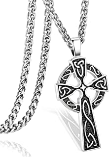 Stainless Steel Celtic Cross Necklace for Men Women Irish Knot Pendant Necklace Chain 22