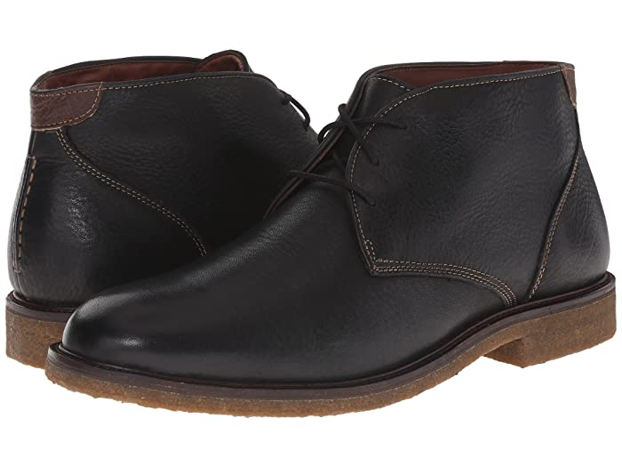 Johnston and Murphy  Copeland Casual Chukka Boot (Black Tumbled Full Grain) Mens Lace-up Boots