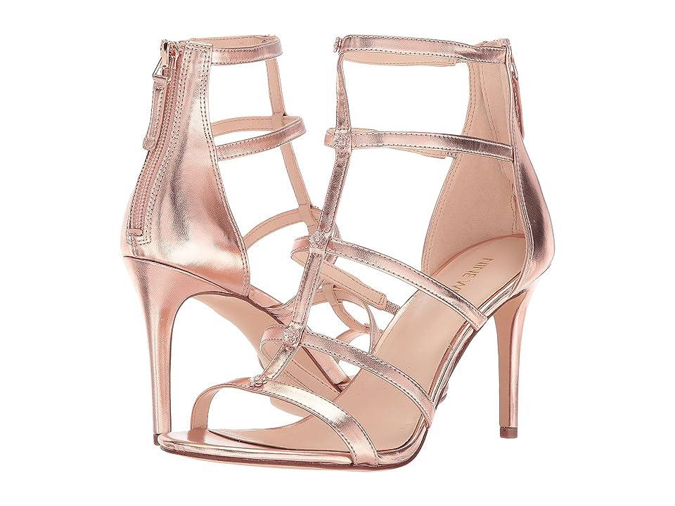 Nine West Nayler Strappy Heel Sandal (Rose Gold Laminato Soft PU) High Heels