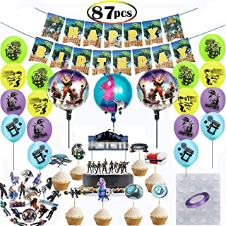 87PCS Gaming Party Decorations Gaming Party Supplies Game Party Favors Including 40 Stickers/24Cupcake Topper/16 Latex Balloons /3Foil Balloons/1 birthday cake flag/1 Happy Birthday banners/1Purple Ribbon/1 Glue Dot for Kids Adult Video Game Party Decorations