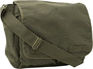 Olive Green Original Heavyweight Classic Military Messenger Bag with Army Universe Pin