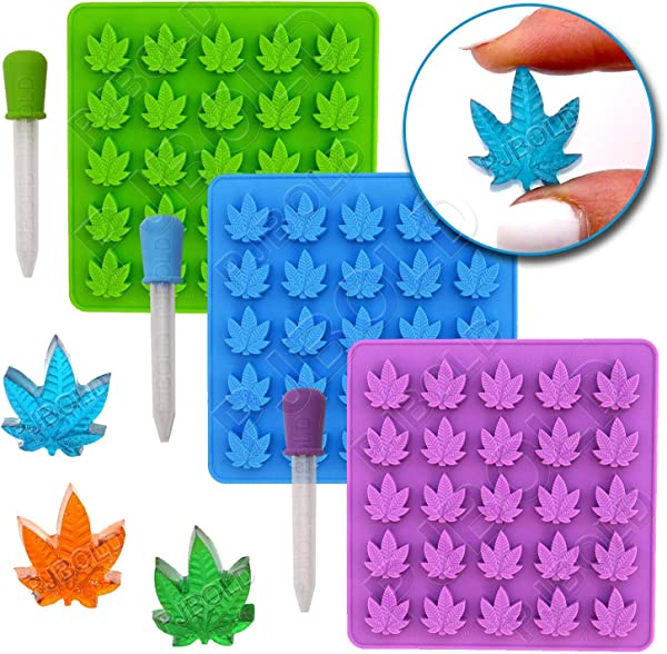 Gummy Leaf Silicone Candy Mold Party Novelty Gift 3 Pack