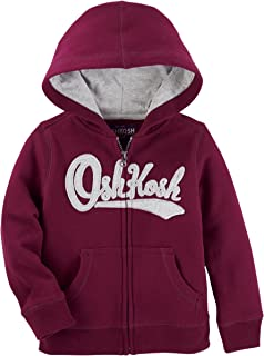 Boys' Striped Fleece Logo Hoodie (9 Months, Maroon)