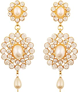 gold tone Indian bollywood dazzling bridal jewelry chandelier earrings for women