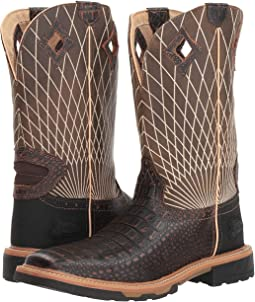 Whiskey Brown Croc Print/Gun Barrel Grey