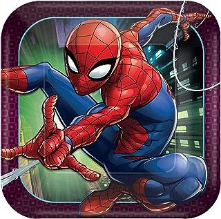 "Amscan 551860 Spider-Man™ ""Webbed Wonder"" Square Plates, 9"", 8 pcs, Party Favor"