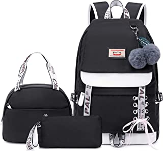 Hey Yoo School Backpack Set for Girls Backpack School Bag Bookbag for Teen Girl Women Laptop Backpack with Lunch Bag 3 in 1 (Black)