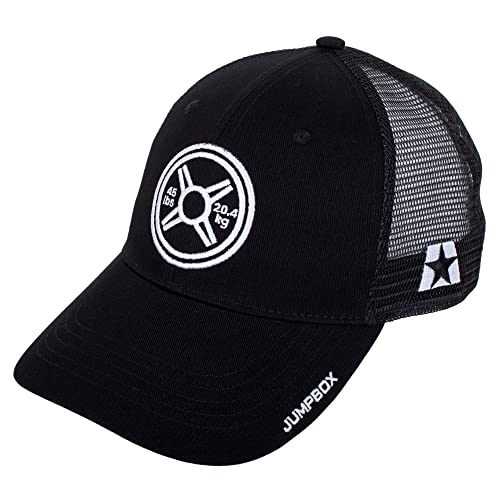 7301d07ba40af8 Jumpbox Fitness Heavy Metal Weightlifting Plate - Gym Workout Black Curved  Bill Snapback Trucker Hat