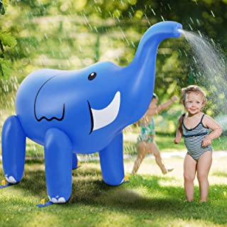 DG-Direct Giant Inflatable Elephant Sprinkler, 6 Feet Tall Swimming Party Pool Play Spray Water Toys for Kids Boys Girls Outdoor Lawn Beach Yard Summer Fun-Blue