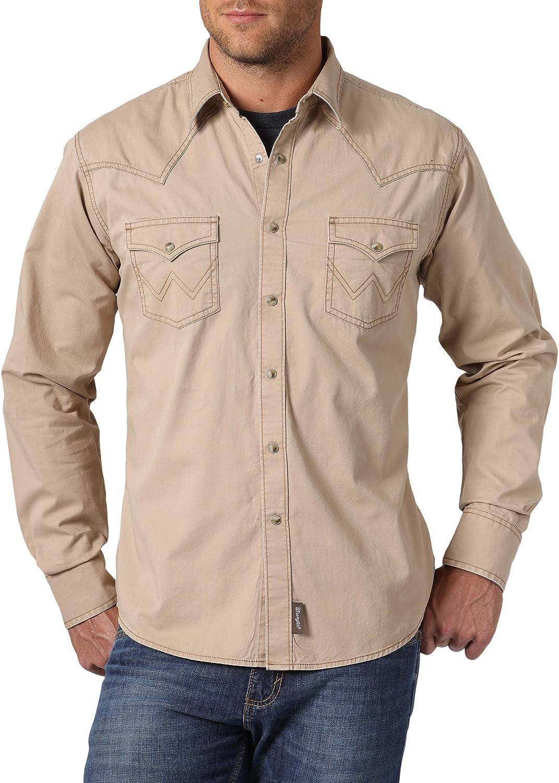 Wrangler Men's Retro Two Pocket Over item handling Max 87% OFF Sleeve Shirt Snap Long