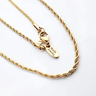 Gold Necklace for men - 18k gold rope chain and silver stainless steel