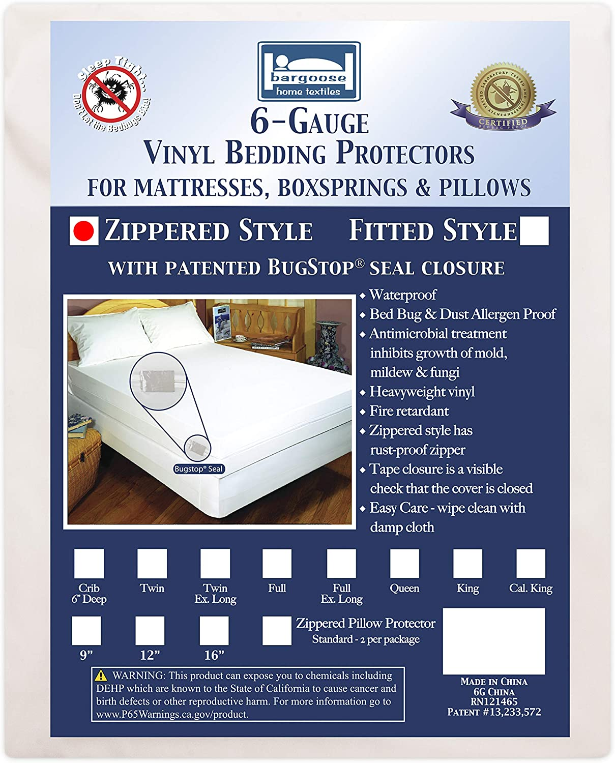 In stock Bargoose Zippered Mattress gift Cover Bed Water Vinyl Protector