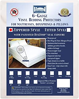 "Bargoose | Zippered Mattress Cover | Vinyl Bed Protector | Waterproof Material | Premium Box Spring Encasement | Guards from Bed Bugs, Pests & Liquids | Brushed Silk Finish | 9"" Deep 