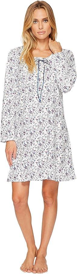 Eileen West - Cotton Jersey Short Long Sleeve Nightshirt