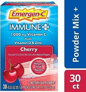 Emergen-C Immune+ Vitamin C 1000mg Powder, Plus Vitamin D And Zinc (30 Count, Cherry Flavor, 1 Month Supply), Immune Support Dietary Supplement Fizzy Drink Mix, Antioxidants & Electrolytes