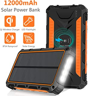 Solar Charger, 12000mAh QI Wireless Solar Power Bank Portable Chargers External Battery Pack Charger, 3 Output Ports 4 LED Flashlight, Solar Panel Charging for Travel, Camping, Emergency