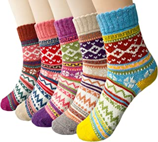 5-6 Pairs Womens Wool Socks Vintage Soft Cabin Warm Socks Thick Knit Cozy Winter Socks..