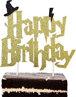 Harry Potter Inspired Birthday Cake Topper For All Ages Gold Glitter Cardstock Unique Harry Potter Themed