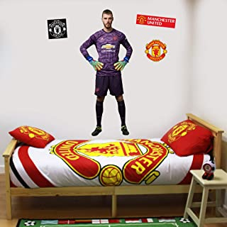 Beautiful Game Ltd Manchester United Football Club Official David De GEA Wall Sticker + Man Utd Logo Decals Vinyl Poster Print Mural Art (120cm Height)