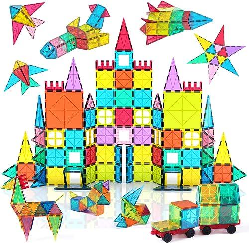 Jasonwell 108pcs Magnetic Blocks Kids Magnetic Tile Building Blocks Set 3D Magnet Bulding Tiles Construction Playboar...