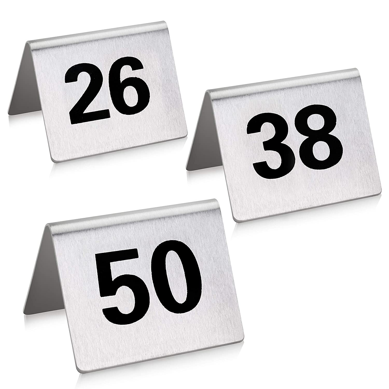 New Star Foodservice 27631 Stainless Steel Tent Style Table Number Card, 26-50, 1.5