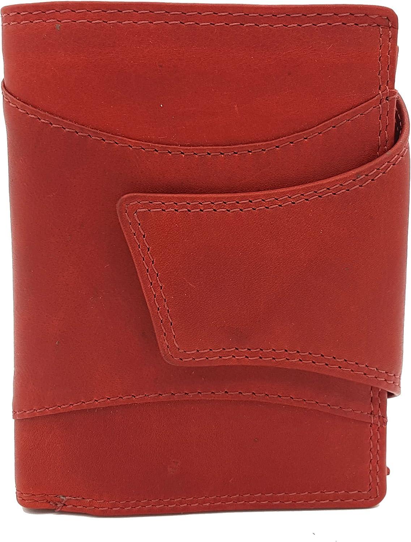 Echt Leder Damen Geldbörse Portemonnaie Münzbörse Hochformat samtweiches Sauvageleder rot B07FNWXDYF