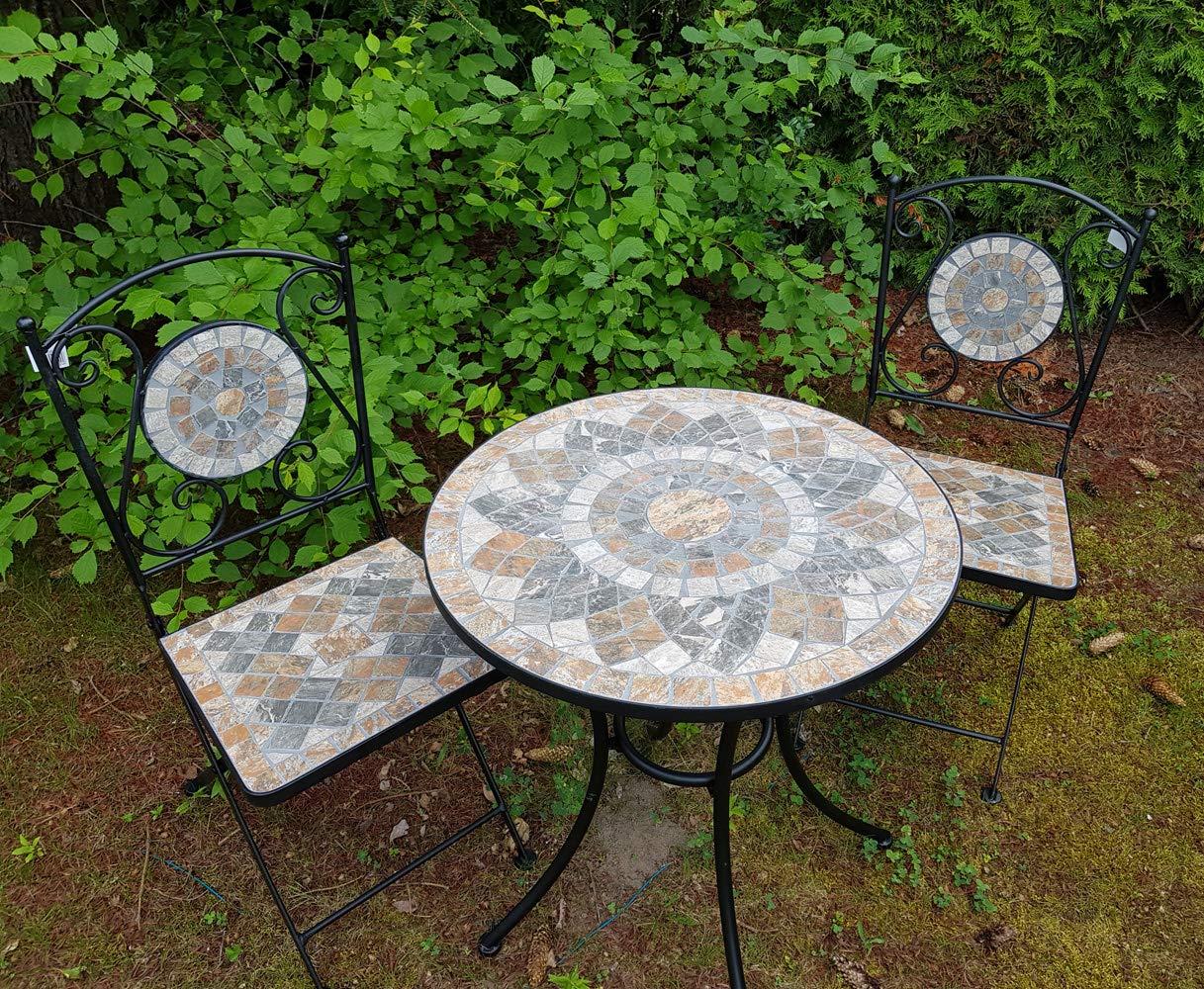 K&L Wall Art Juego de Muebles de jardín : 2 sillas y Mesa con Bonito diseño de Mosaico de Piedra, robustos, para Interior y Exterior, Resistente al Invierno: Amazon.es: Jardín