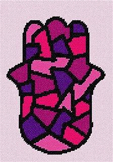 pepita Hamsa Stained Glass Pinks Needlepoint Canvas