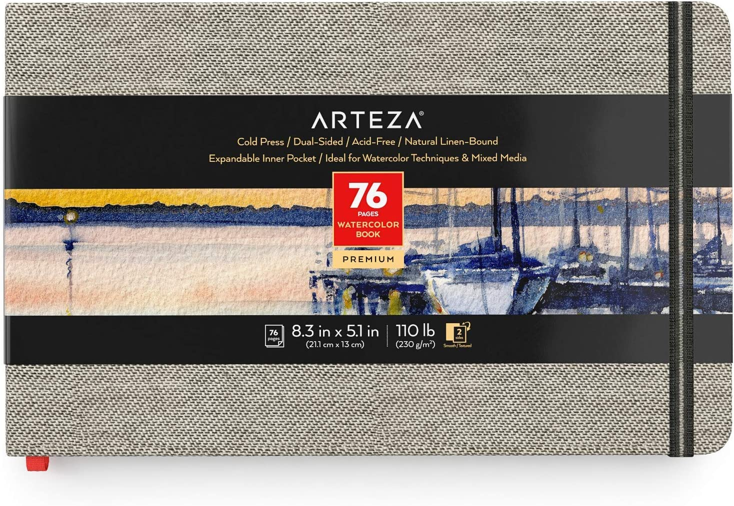Arteza Watercolor Sketchbook 8.3 x 5.1 76-Page Portland Mall Ranking TOP15 Journal Inches