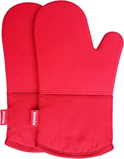 Honla Silicone Oven Mitts,Heat Resistant to 500 F,1 Pair of Non Slip Kitchen Oven Gloves for Cooking,Baking,Grilling,Barbecue Potholders,Red