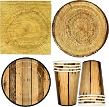 """Rustic Wooden Tree Party Supplies Tableware Set 24 9"""" Paper Plates 24 7"""" Plate 24 9 Oz Cups 50 Lunch Napkins for Lumberjac..."""