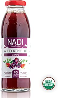 NADI USDA Organic Wild Rosehip Grape Juice rich in Antioxidants, Great Immune System Booster, Organic Vitamin C, No Sugar Added, Gluten Free, Non GMO 10 oz (pack of 8)