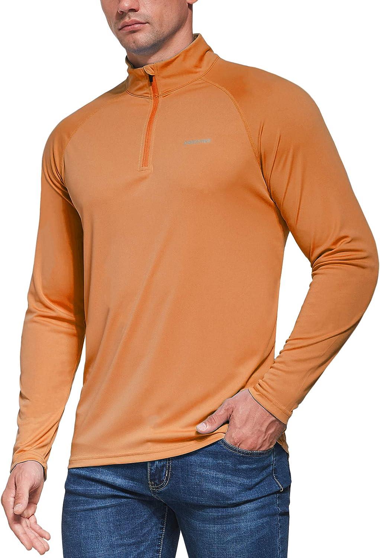 Ogeenier Mens 1//4 Zip Long Sleeve Running Top Shirts UV Sun Protection Outdoor Sport T-Shirt UPF 50
