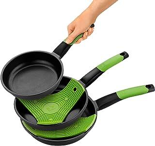 Bra Prior - Set de 3 Sartenes, Aluminio Fundido Antiadherente, Incluye dos Salvamanteles Safe Verdes, Aptas para Todo Tipo de Cocinas Incluida Inducción, 18-22-26 cm