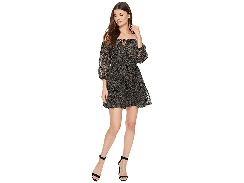 BB Dakota Westerly Velvet Burnout Dress (Black) Women
