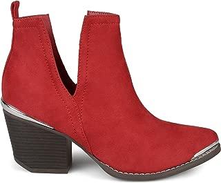 Womens Faux Suede Stacked Wood Heel Metal Detail Side Slit Booties