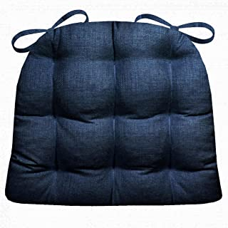Barnett Products Indoor/Outdoor Dining Chair Pad - Rave Indigo Blue Solid Color Woven Fabric - - Mildew Resistant, Fade Resistant Small Patio Chair Cushion - Reversible, Latex Foam Fill, U Shaped