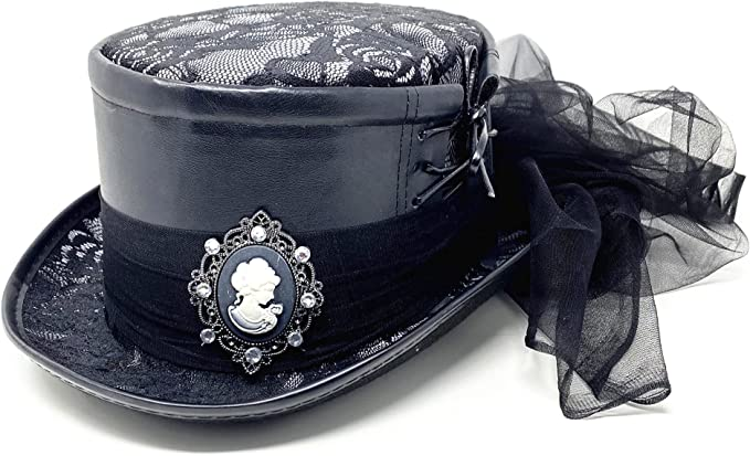 Men's Vintage Style Hats, Retro Hats Storm buy ] Steampunk Style Women Lady Girl Rhinestone Top Hat Feather Halloween Costume Cosplay Party with Goggles  AT vintagedancer.com