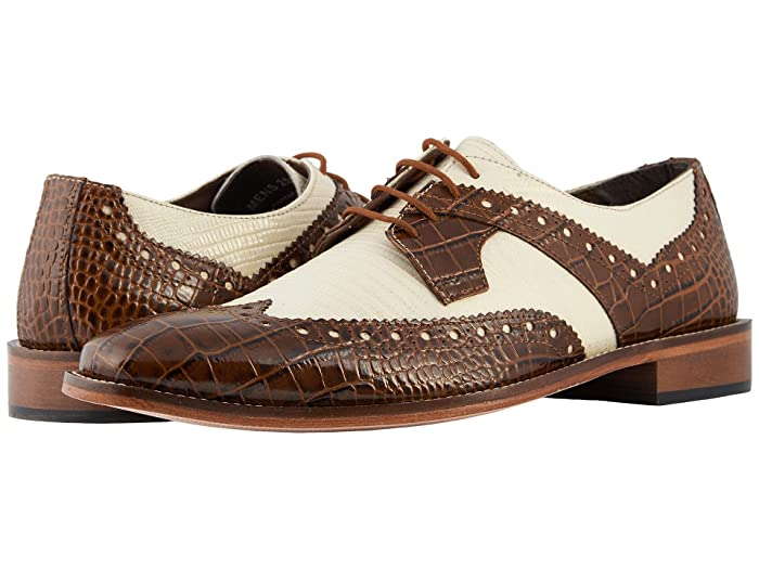 Men's 1950s Shoes Styles- Classics to Saddles to Rockabilly Stacy Adams Gusto Wingtip Oxford MustardIvory Mens Shoes $82.24 AT vintagedancer.com