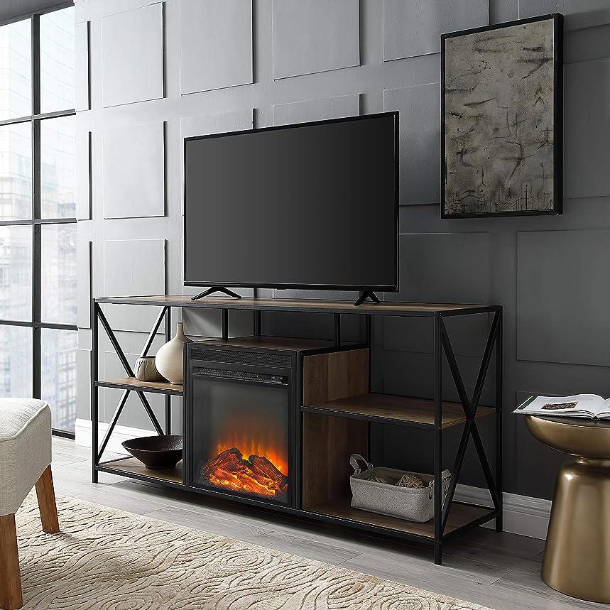 WE Furniture AZ60FPXFJRO Fireplace Stand, 60
