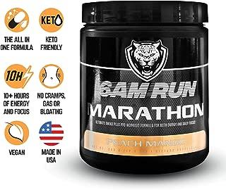6AM Run: Marathon Amino Energy (Peach Mango 40 scoops) Energy Gels For Runners - Marathon Energy - Pre Workout Runners - Amino Energy Peach - Runner Pre Workout - Eco Drink Peach Mango, Pre Run Energy