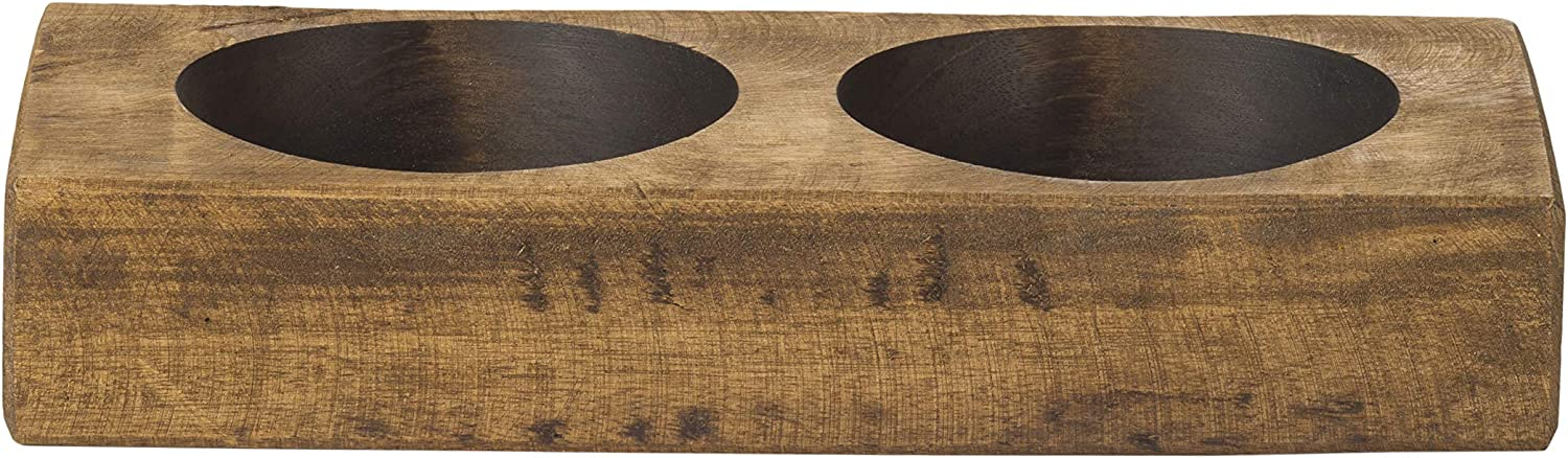 weddings FREE SHIPPING rustic Sugar mold 2 hole center piece solid wood brown